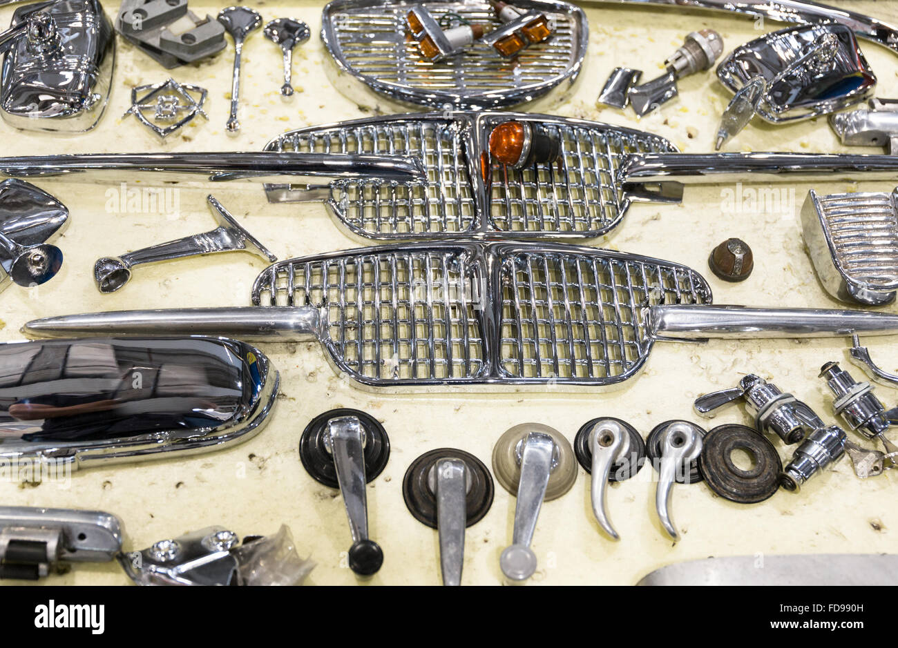 Background formed by spare parts of old vintage cars Stock Photo ...