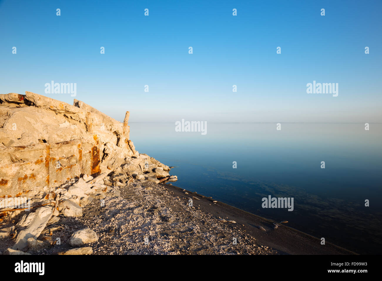 Salt-encrusted remains of Bombay Beach, on the eastern shore of the Salton Sea, California - Stock Image