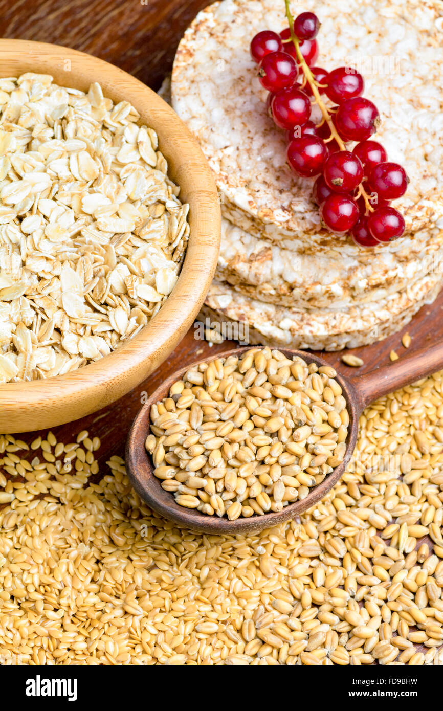 Grains, seeds and cereal flat bread  Healthy food baking