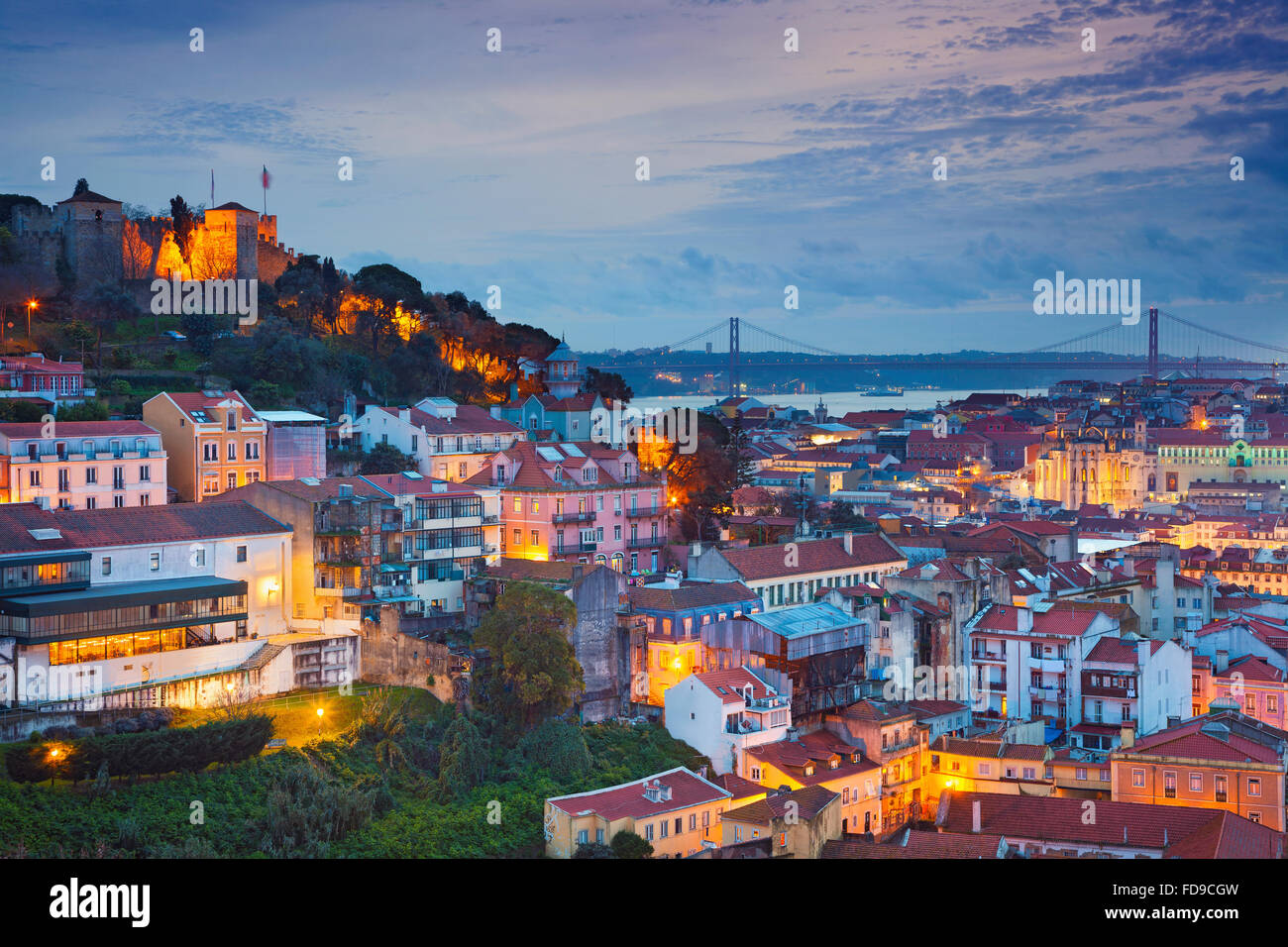 Lisbon. Image of Lisbon, Portugal during twilight blue hour. - Stock Image