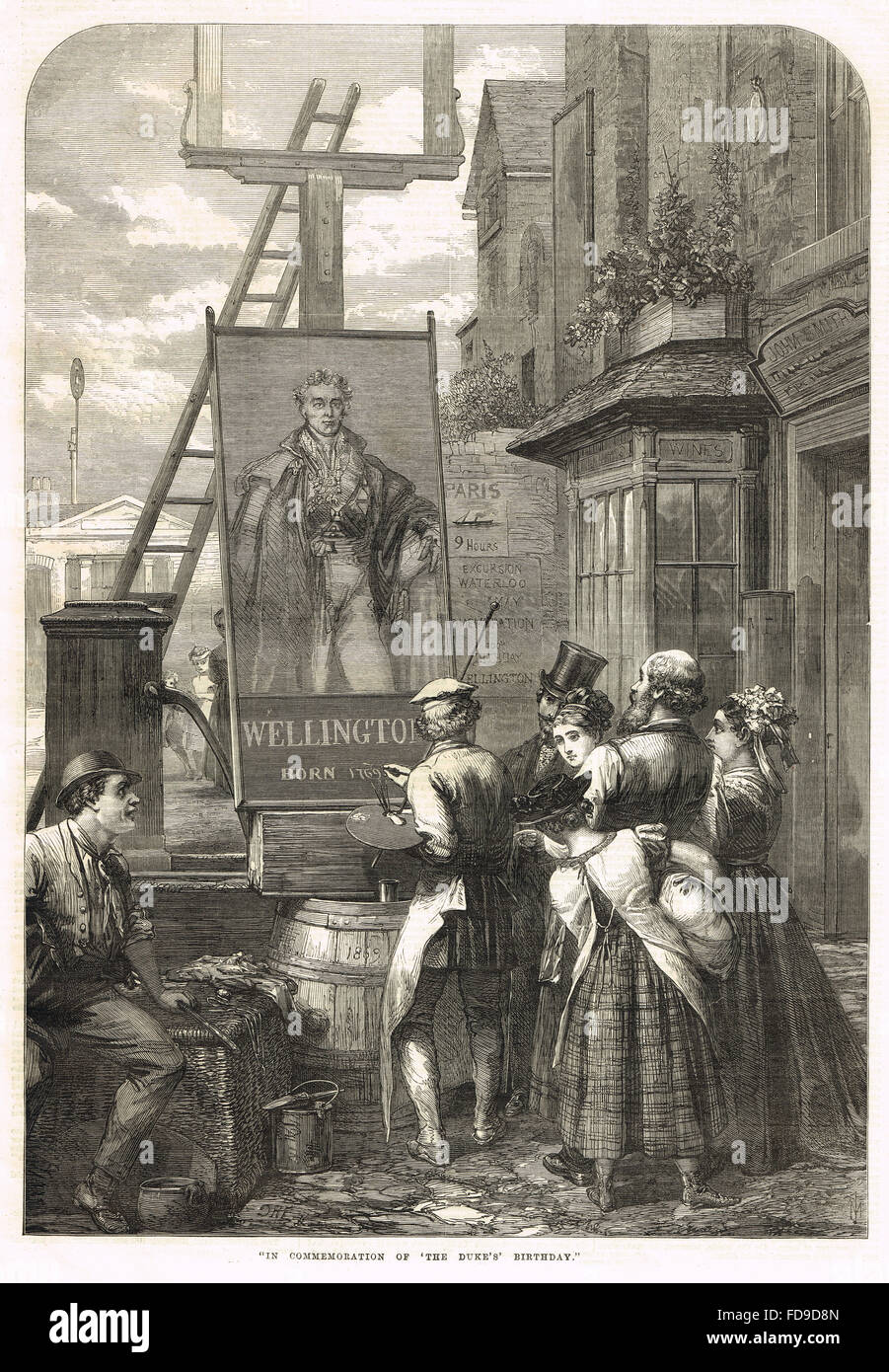 Commissioning of a pub sign in honour of the Duke of Wellington's 100th 'birthday' May 1 1869 - Stock Image