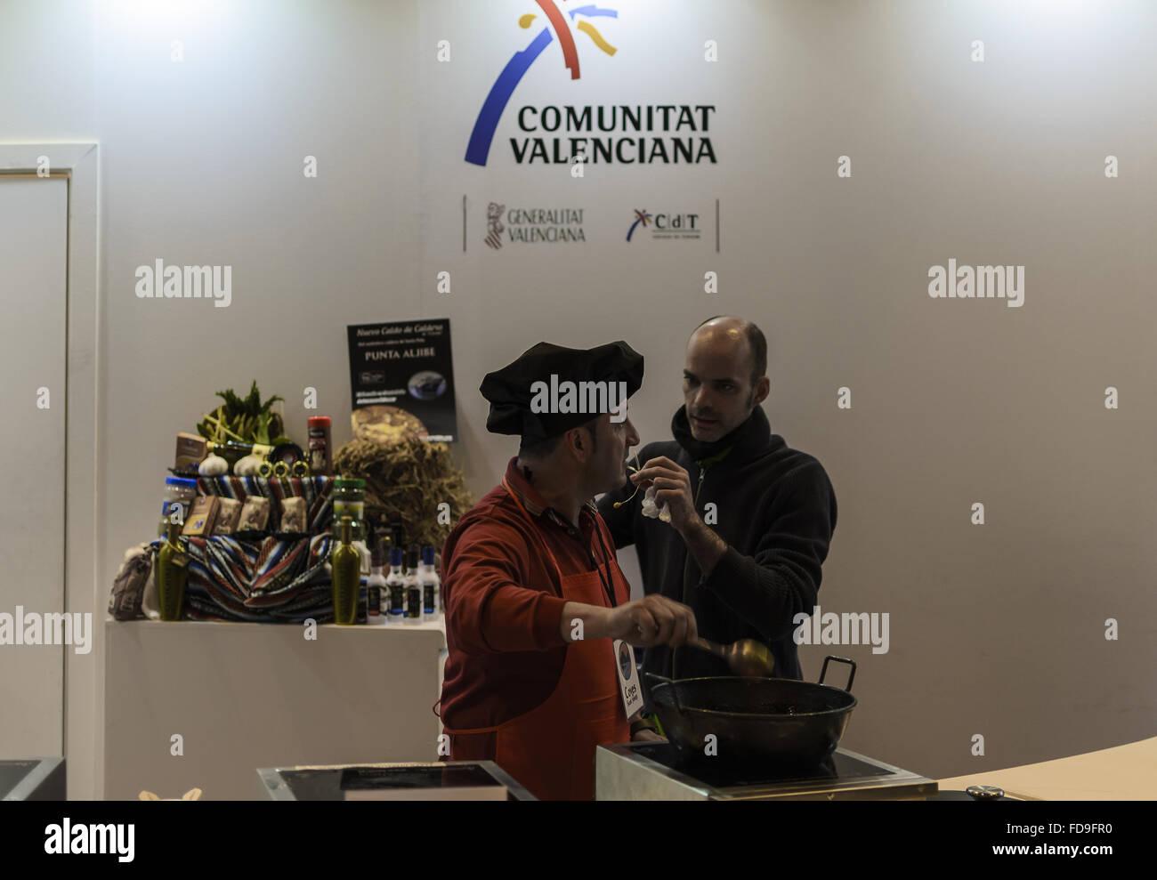 A black cap view in Fitur fair, Madrid, Spain - Stock Image