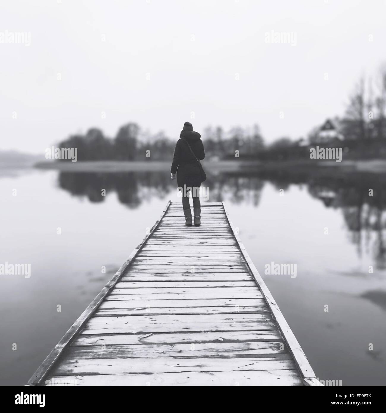 Full Length Rear View Of Woman Standing On Pier - Stock Image
