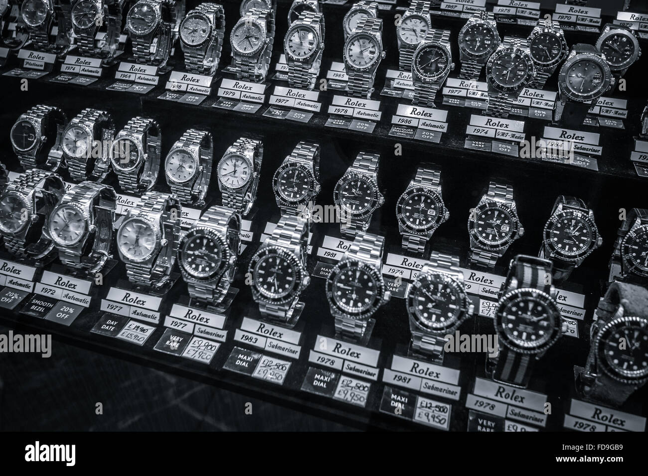 Rolex watches for sale in London shop window - Stock Image