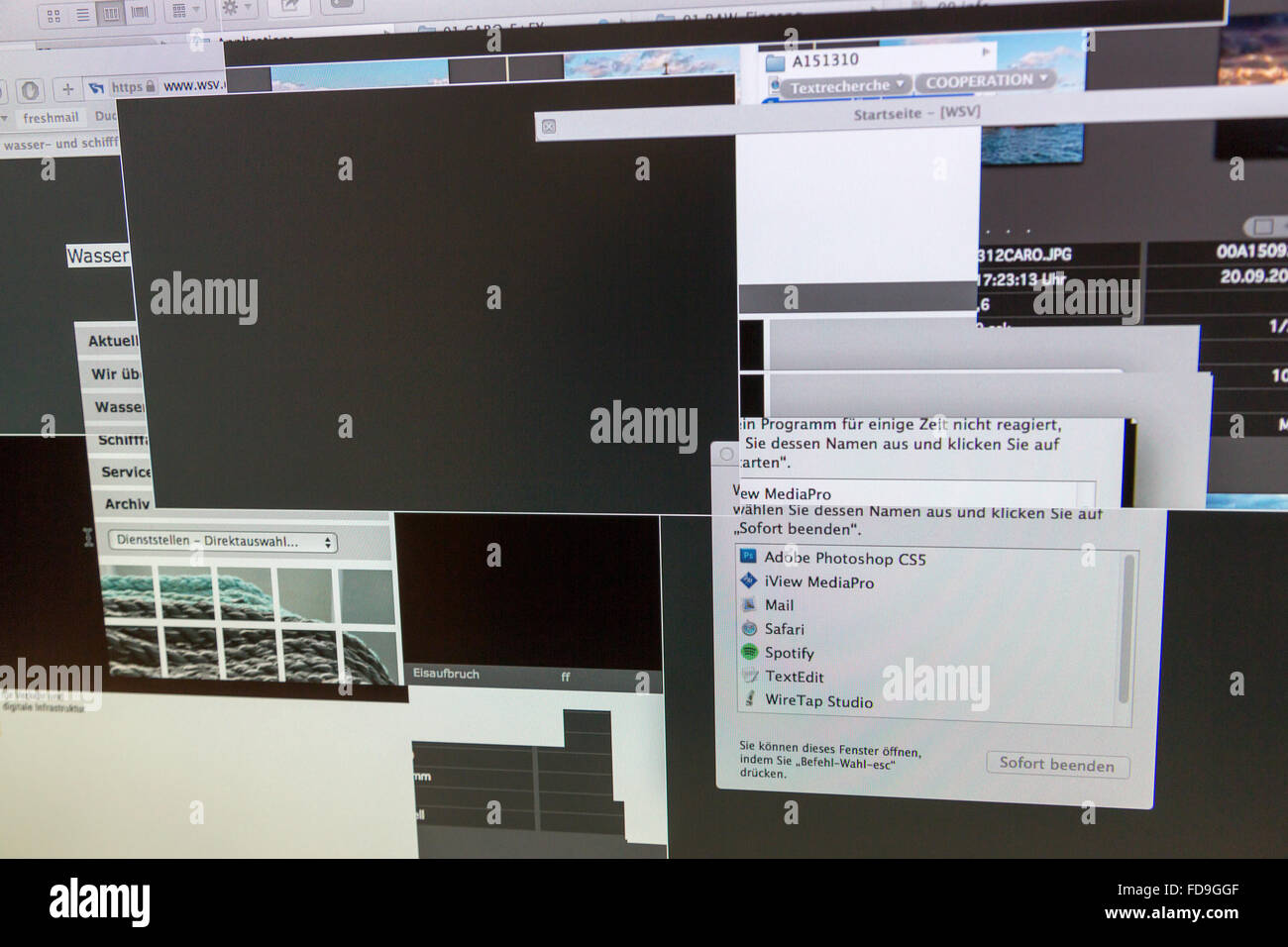 Berlin, Germany, interesting phenomena on the monitor after crash of a Macintosh computer - Stock Image