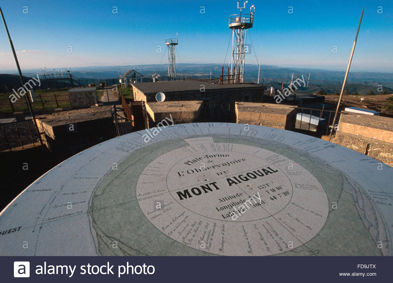 Panoramic table and meteorological station, Mont Aigoual, Lozere - Stock Image