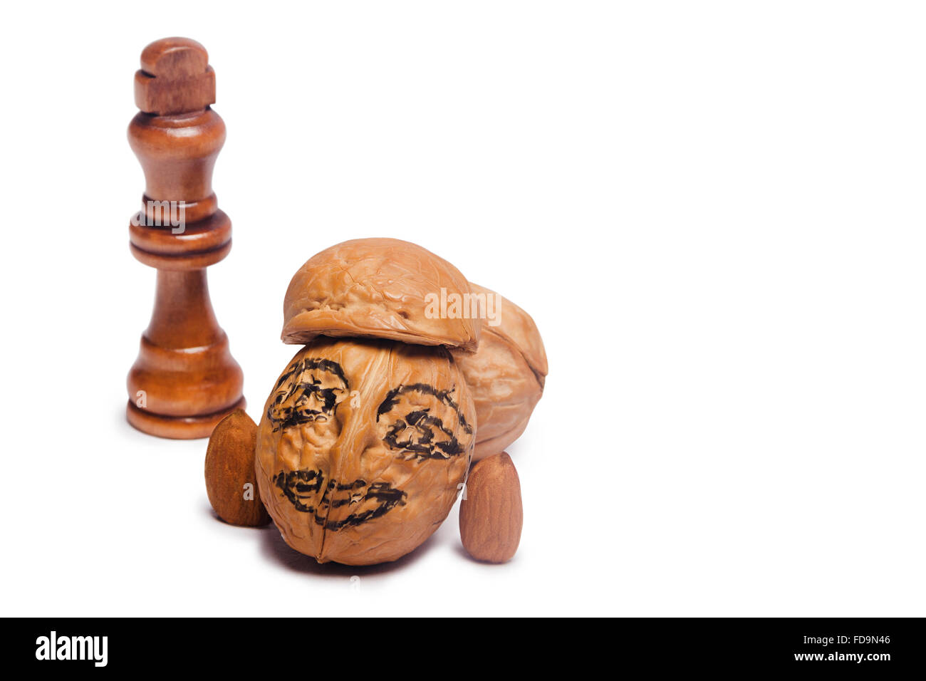 Walnut Drawing Face Human representation and Chess Nobody - Stock Image