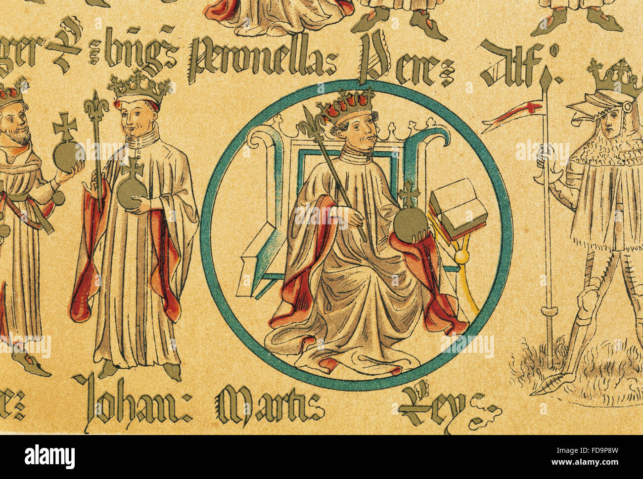 Martin of Aragon The Humane (1356-1410). King of Aragon, Valencia and Majorca and Count of Barcelona. Copy of Genealogy - Stock Image