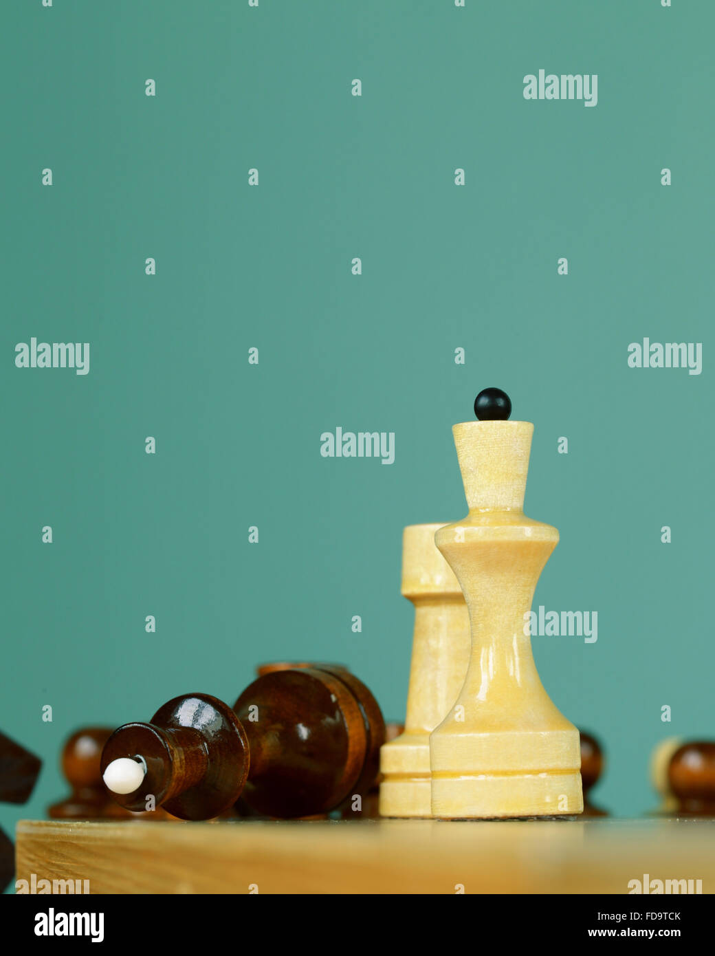 chess position - pawn standing in a position of checkmate - Stock Image