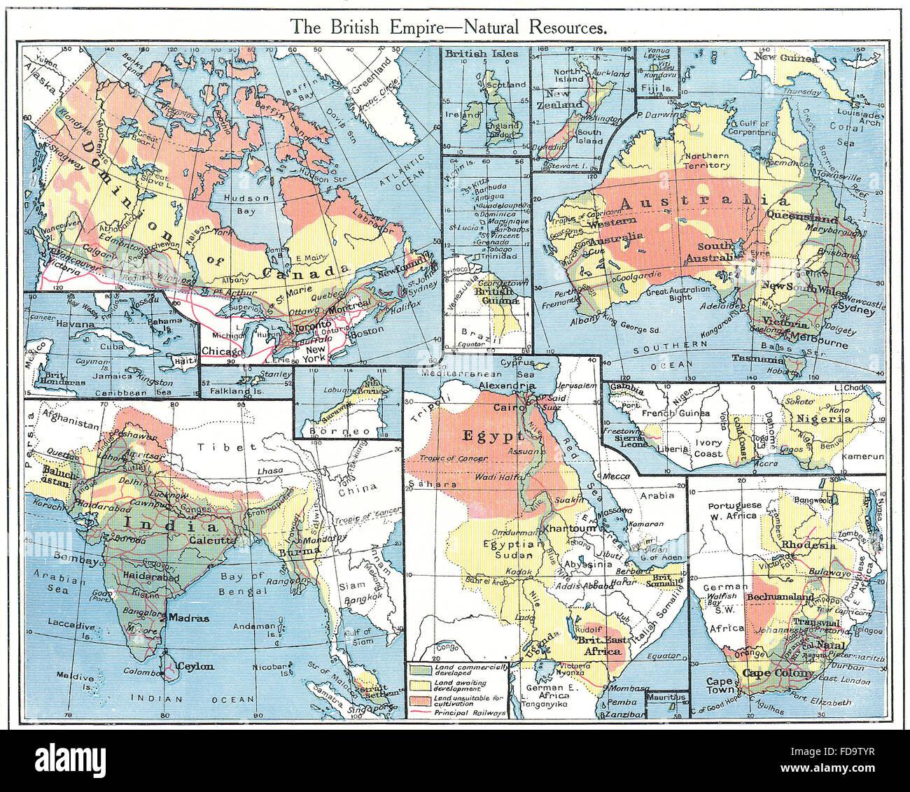 Australia India Map.British Empire Natural Agricultural Resources Australia India Stock