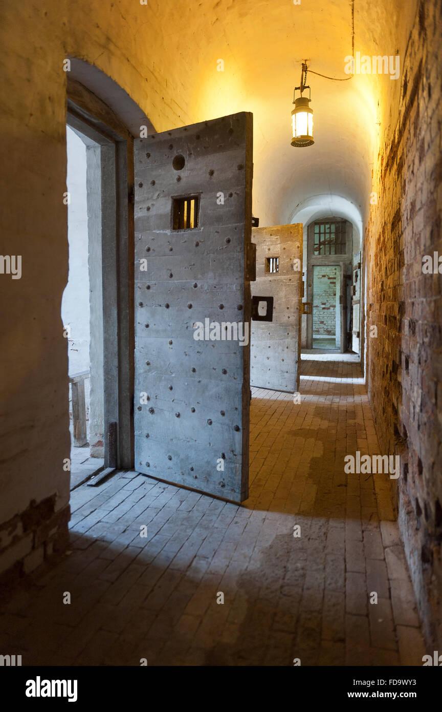 Open door in Walsingham prison, Norfolk, UK - Stock Image