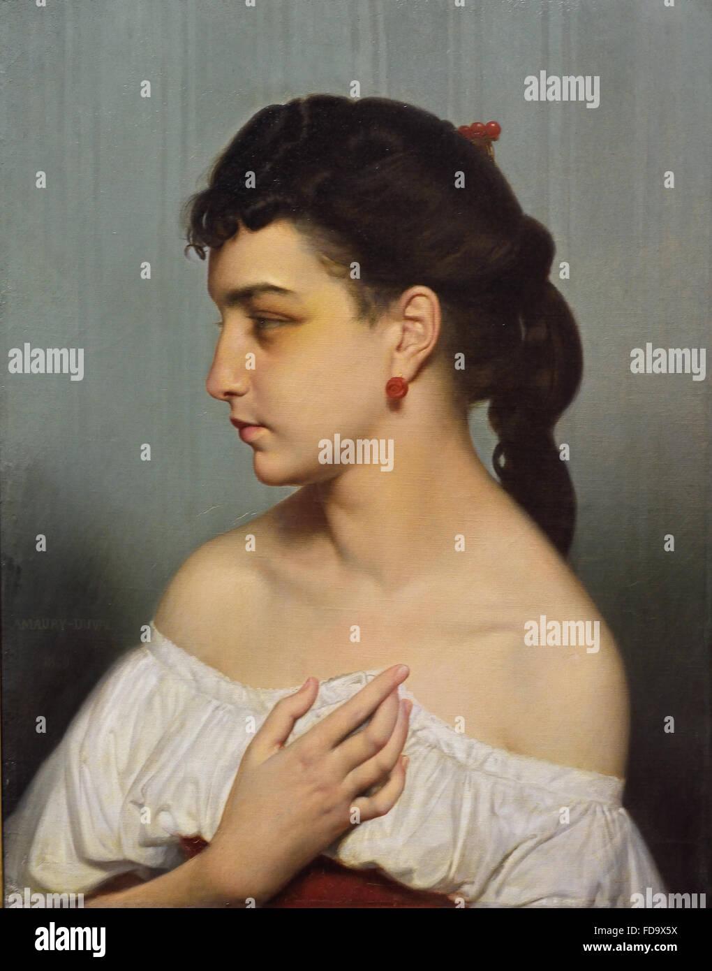 Tete de jeune fille - Head of girl 1869 Eugene Amaury Duval 1808-1885  France French - Stock Image
