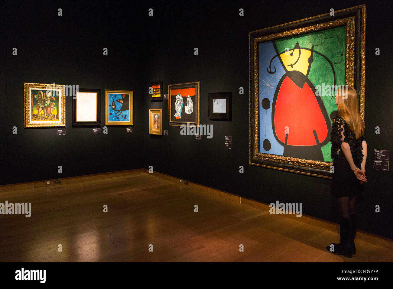 London, UK. 29 January 2016. Pictured: surrealist paintings with Joan Miro's Femme et oiseaux dans la nuit, - Stock Image