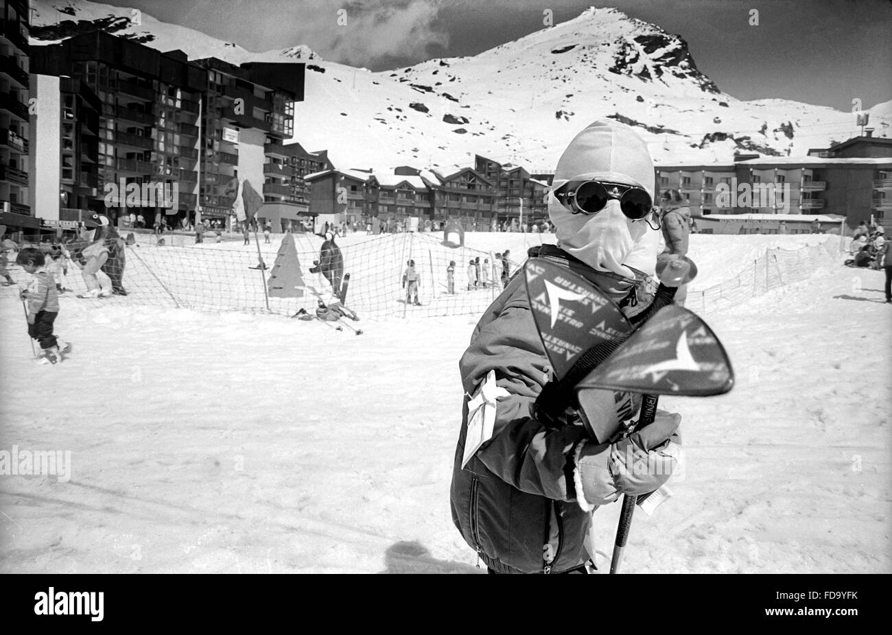 Young skier on the slopes of Val Thorens, in the Trois Vallees area of Savoie, France, early 1990s - Stock Image