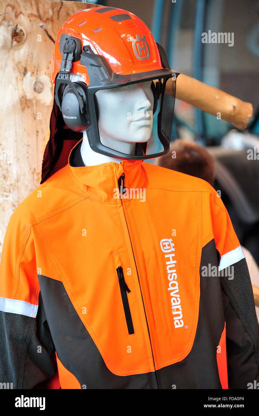 Hannover, Germany, Husqvarna protective clothing to help Expo 2015 - Stock Image
