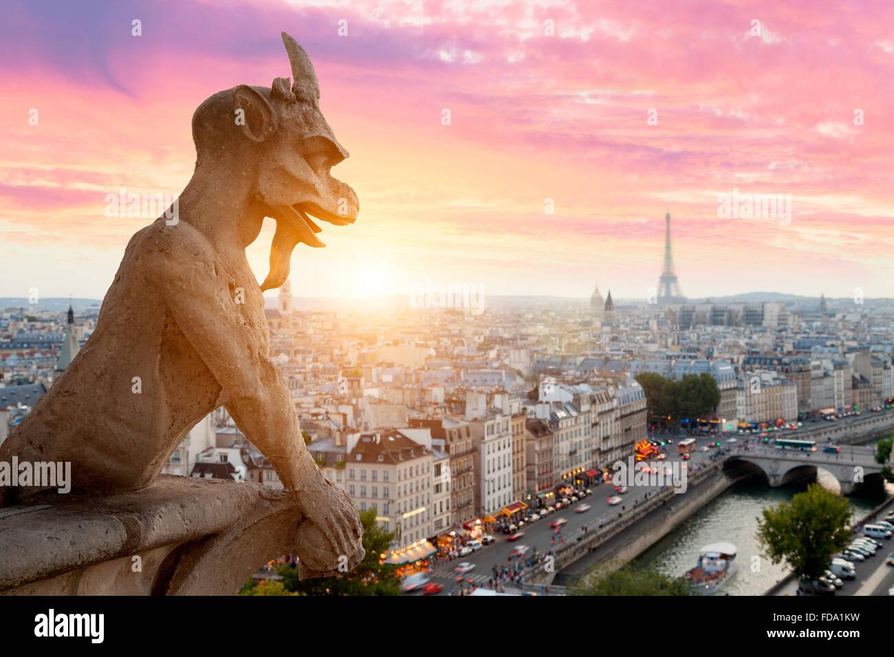 Paris skyline from Notre Dame de Paris cathedral - Stock Image