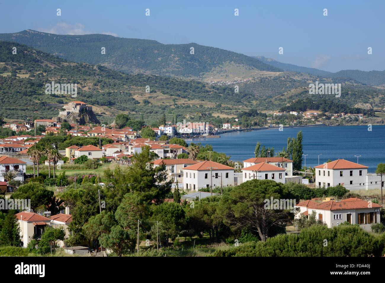 Overview of Petra village, with church of Panagia Glykofiloussa perched on a rock, Lesbos / Lesvos, Greece.. - Stock Image