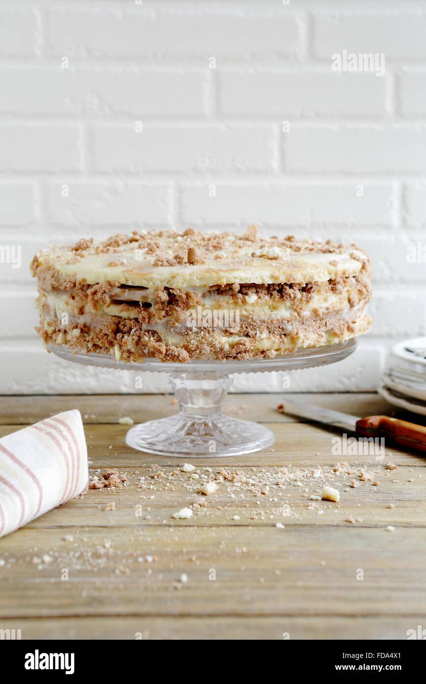 homemade simple cake with cream, food closeup - Stock Image