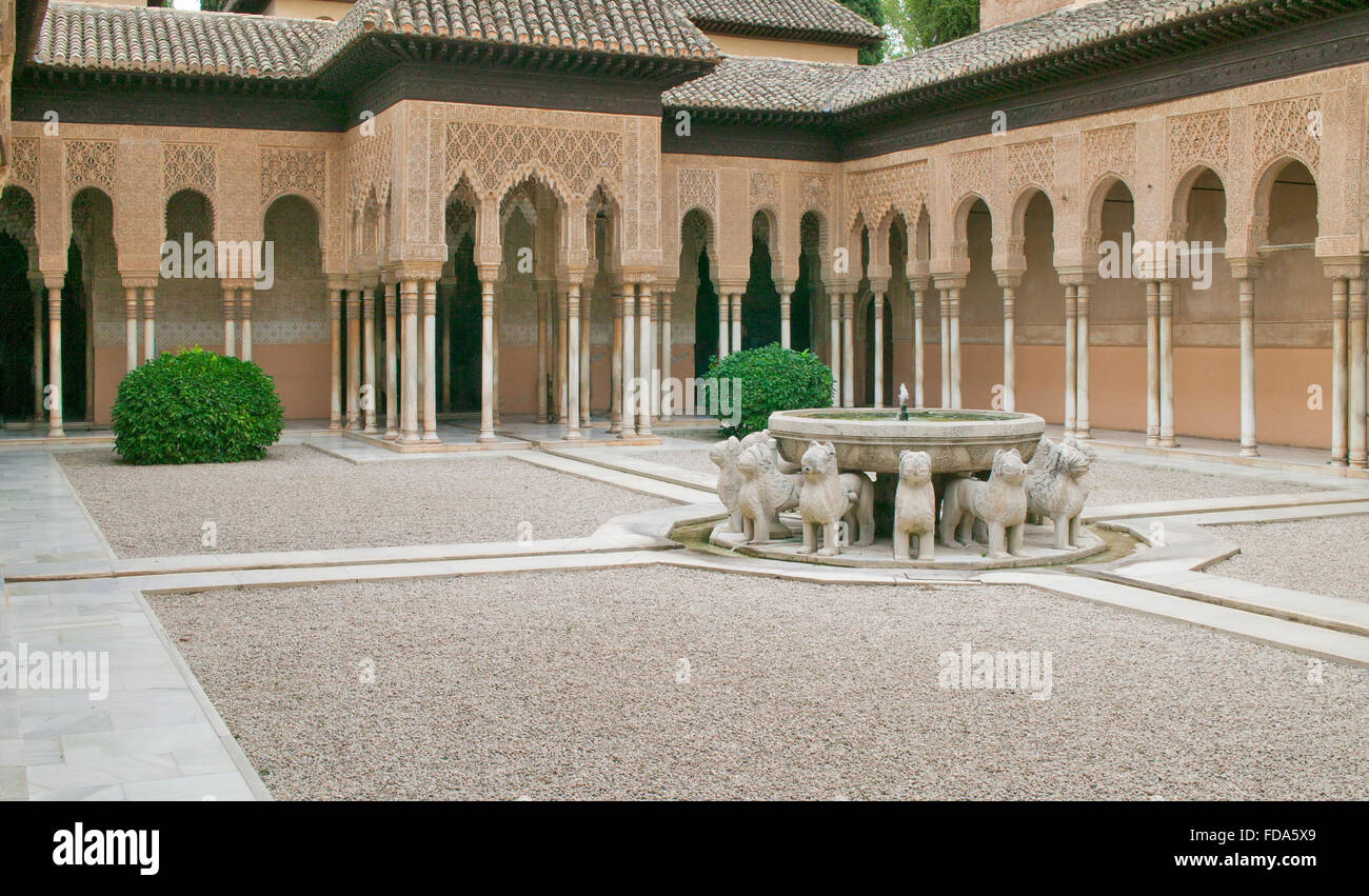 granada andalucia spain the alhambra courtyard of the lions moorish