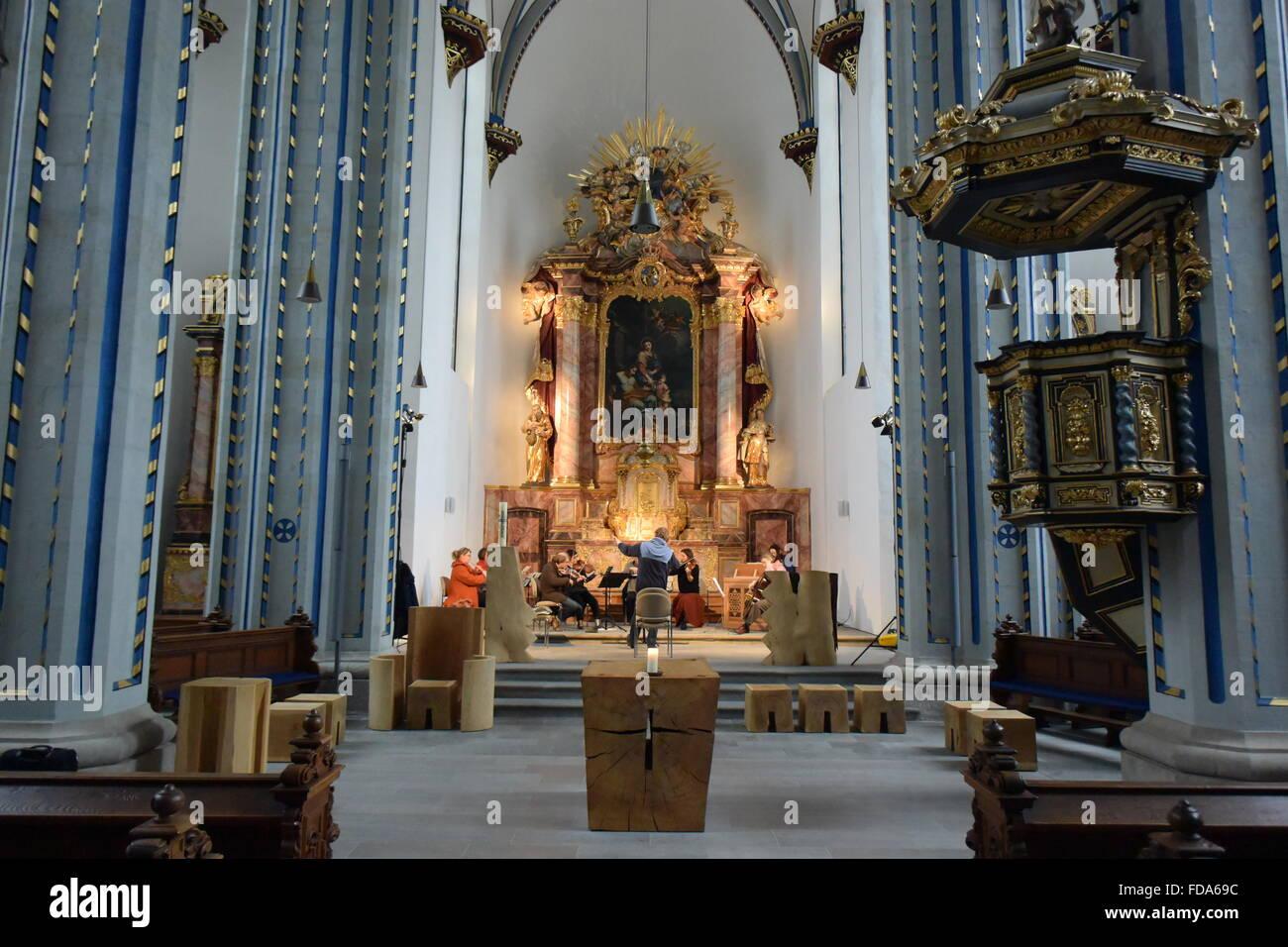 look into the Namen Jesu Kirche in Bonn, Germany - Stock Image