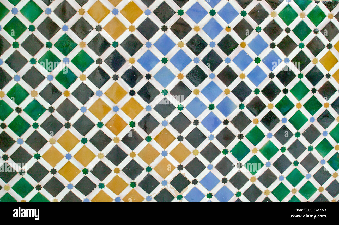 GRANADA ANDALUCIA SPAIN THE ALHAMBRA INTERIOR WALL WITH COLOURED WALL TILES - Stock Image