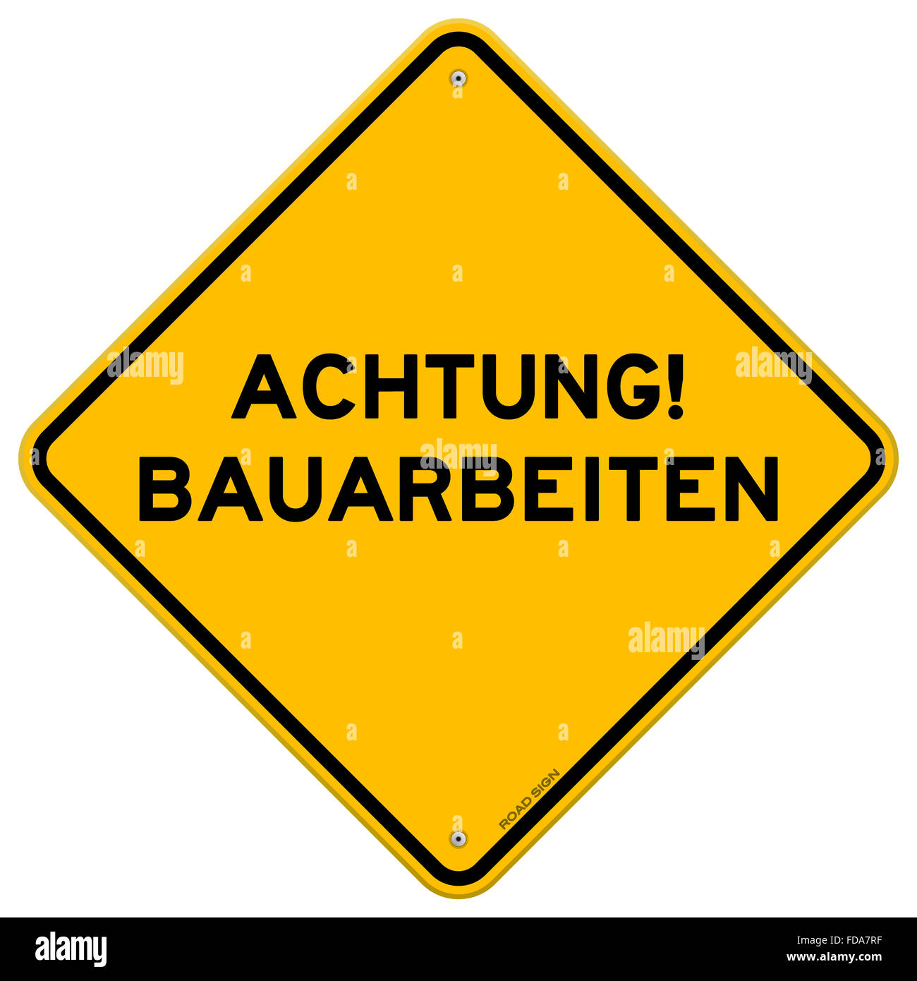 Yellow and black achtung bauarbeiten sign Stock Photo