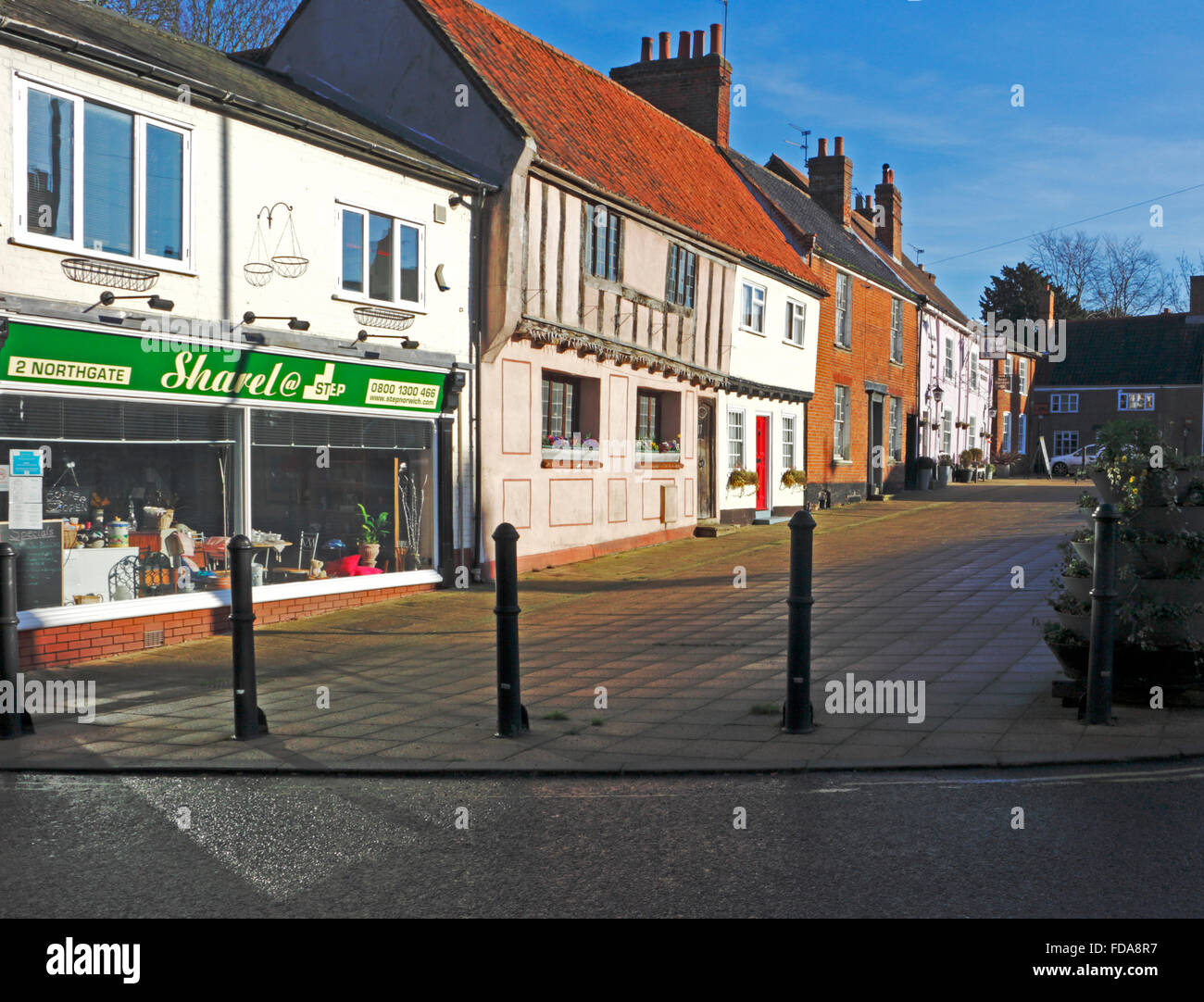 A view of old buildings in the Old Market at Beccles, Suffolk, England, United Kingdom. - Stock Image