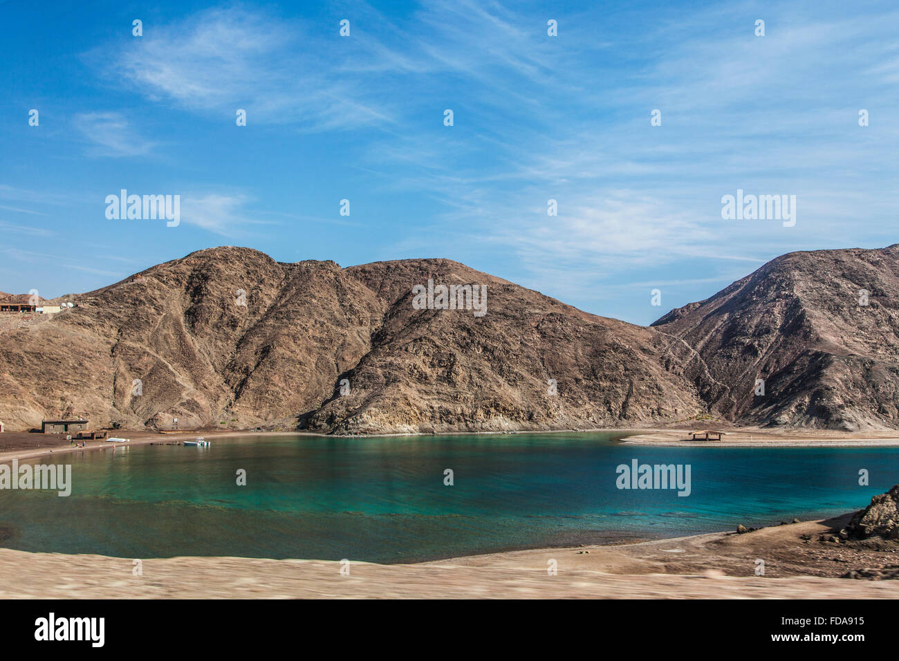 An inlet of the Gulf of Aqaba near Taba on the Sinai Peninsula in Egypt. - Stock Image