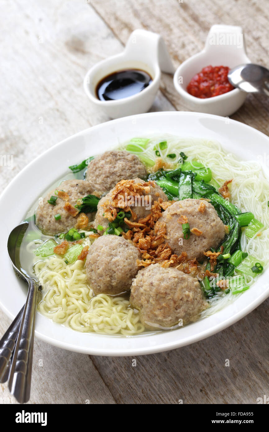 bakso, meatball soup with noodles, indonesian cuisine - Stock Image