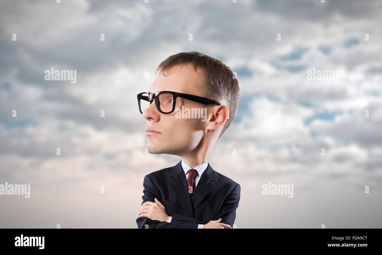 2c5a294cb3 Young funny man in glasses with big head Stock Photo  94269304 - Alamy