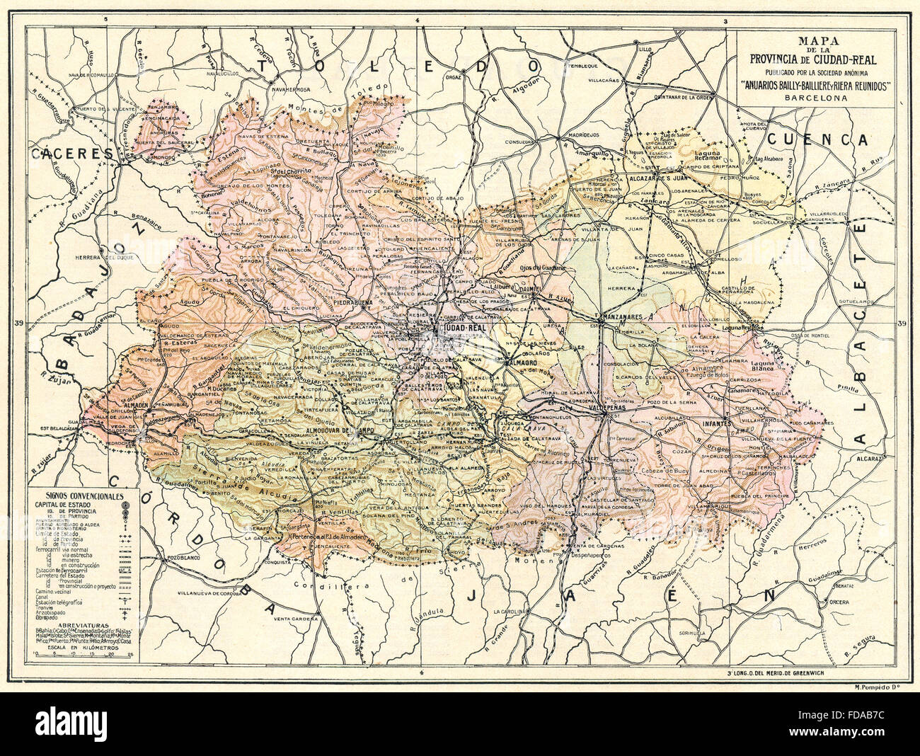 Mapa Provincia Ciudad Real.Spain Mapa De La Provincia De Ciudad Real 1913 Stock Photo