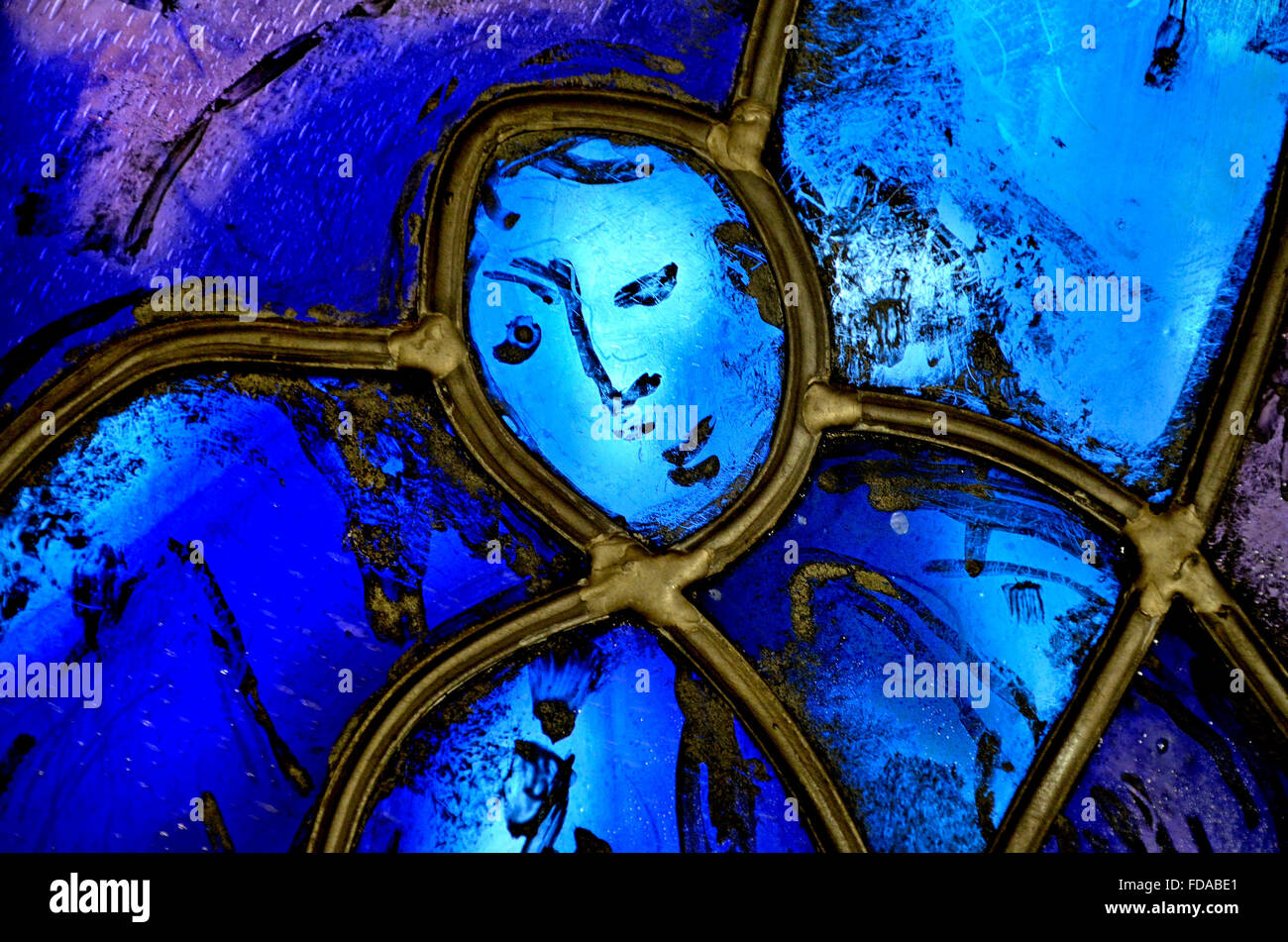 Tudeley, Tonbridge, Kent, UK. All Saints Church. Stained Glass Window by Marc Chagall - angel. Detail showing lead - Stock Image