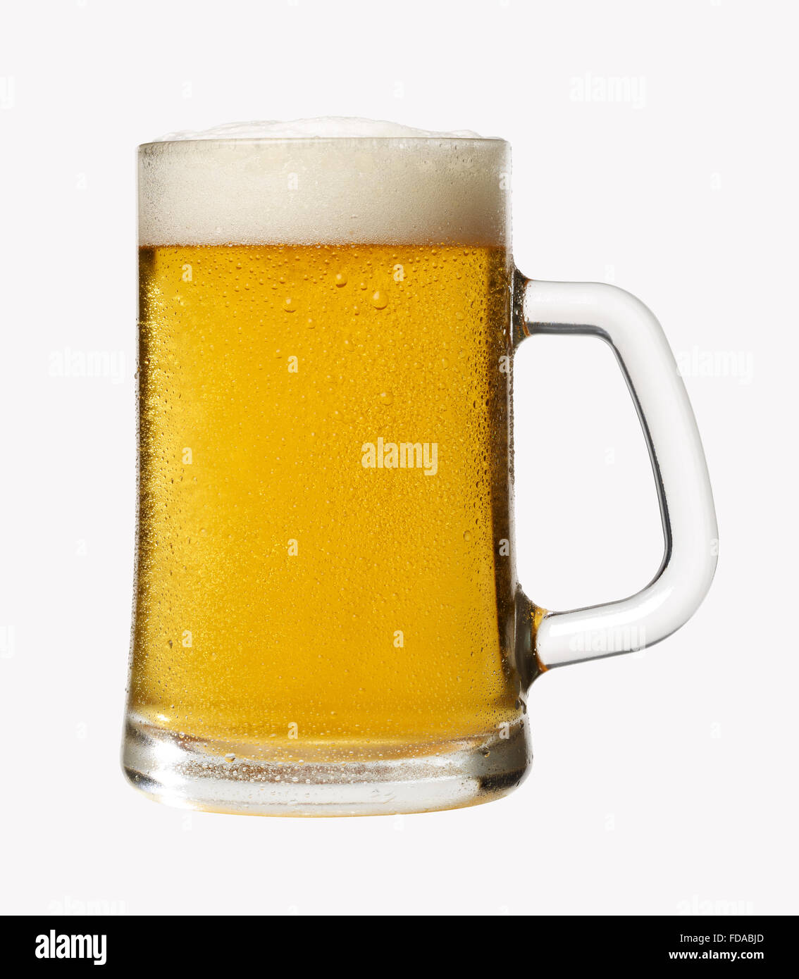 A glass of cold beer, cut-out on a white background - Stock Image