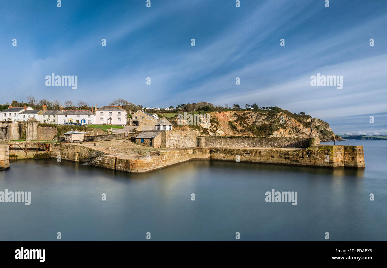 Tranquil Waters, Charlestown Harbour - Stock Image