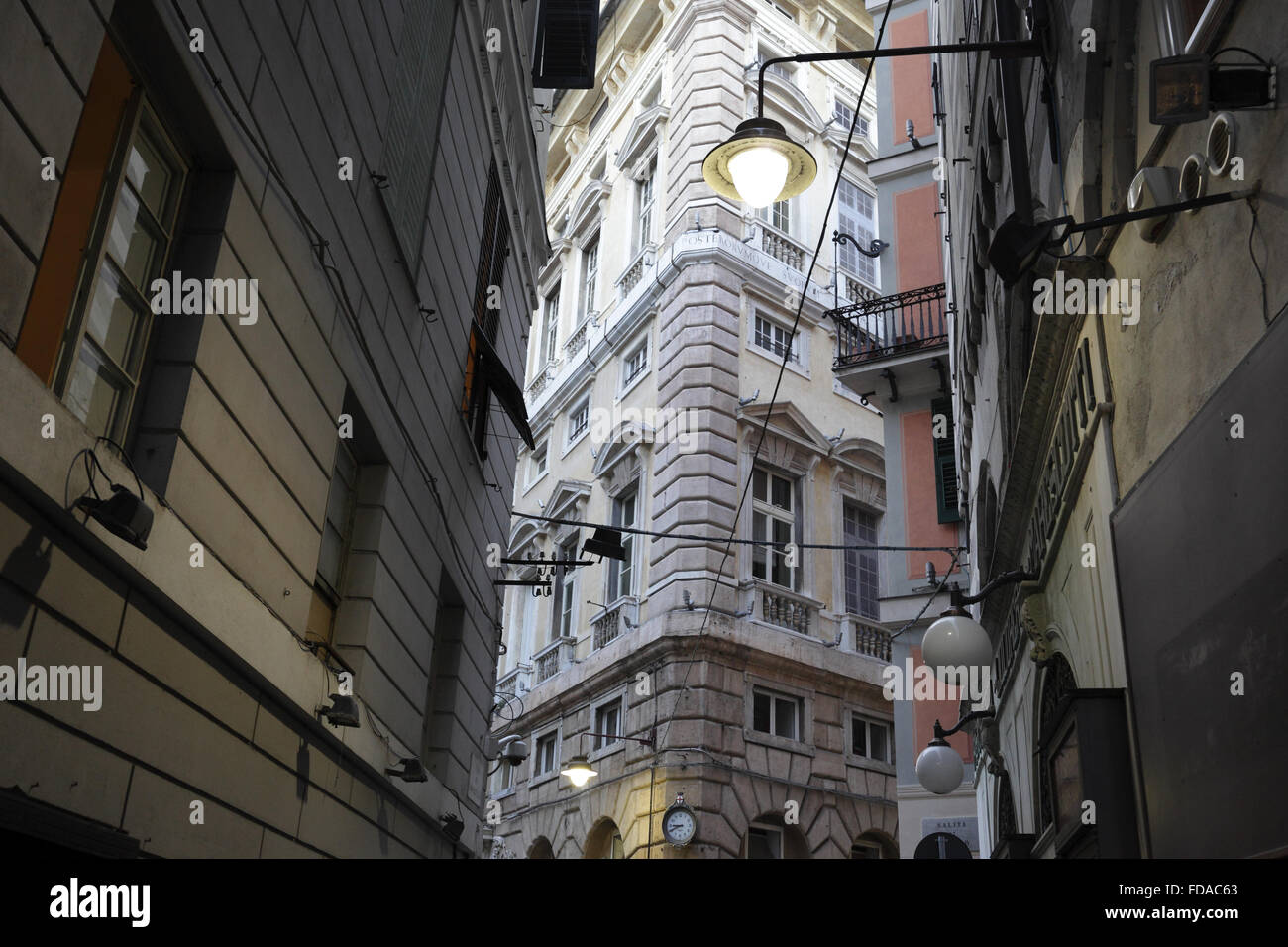 Genoa, Italy, closely built houses in the old town - Stock Image