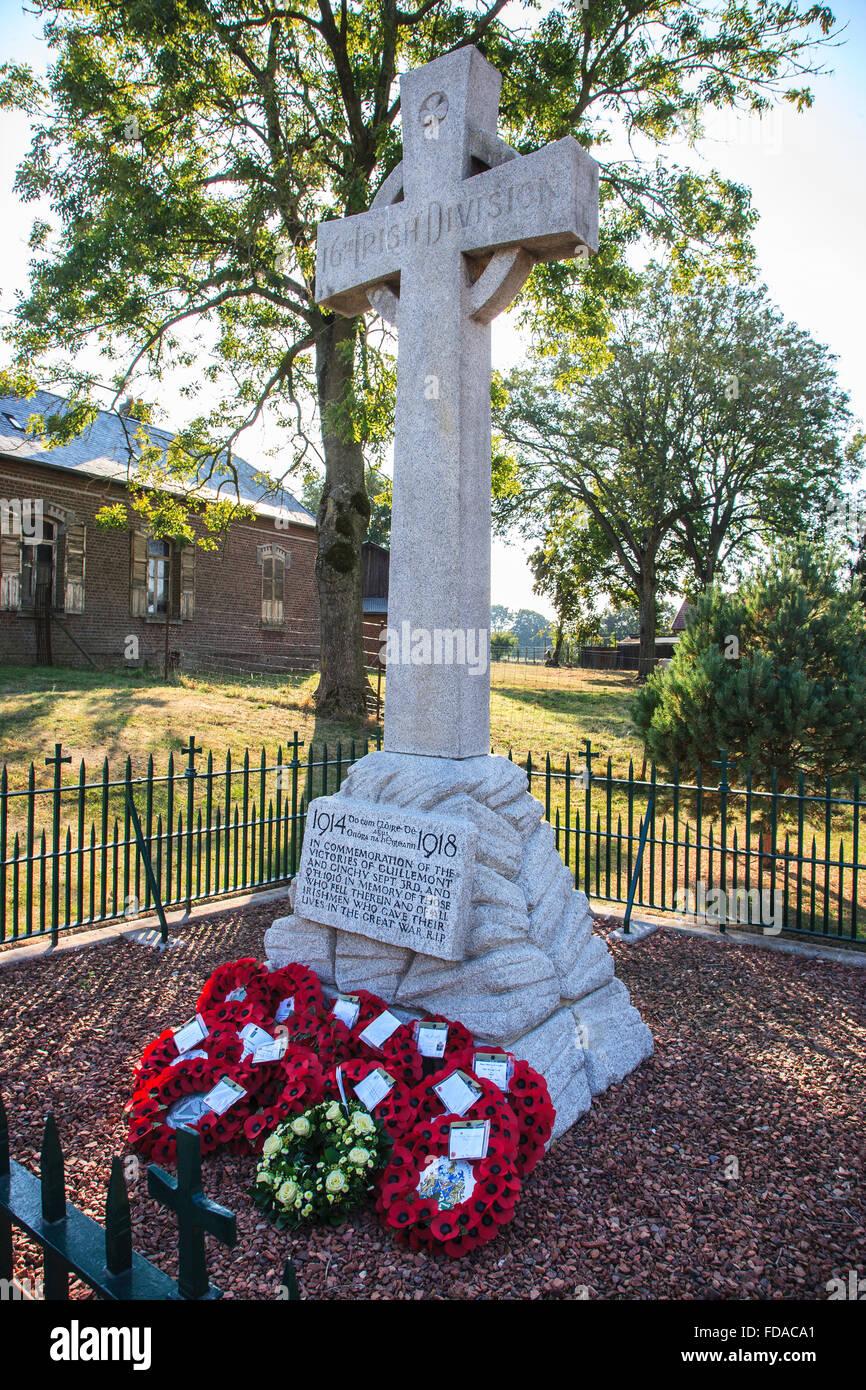 16th irish division memorial Guillemont France - Stock Image