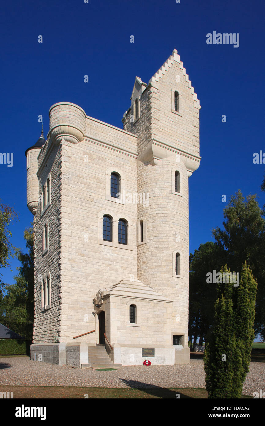 Ulster Memorial Tower Somme battlefield france - Stock Image