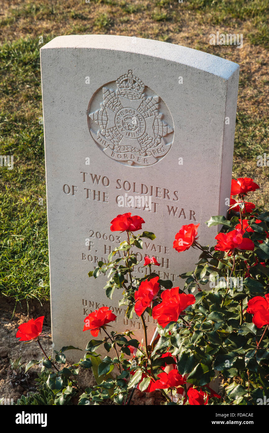 ww1 great war world war 1 cemetery grave stone - Stock Image