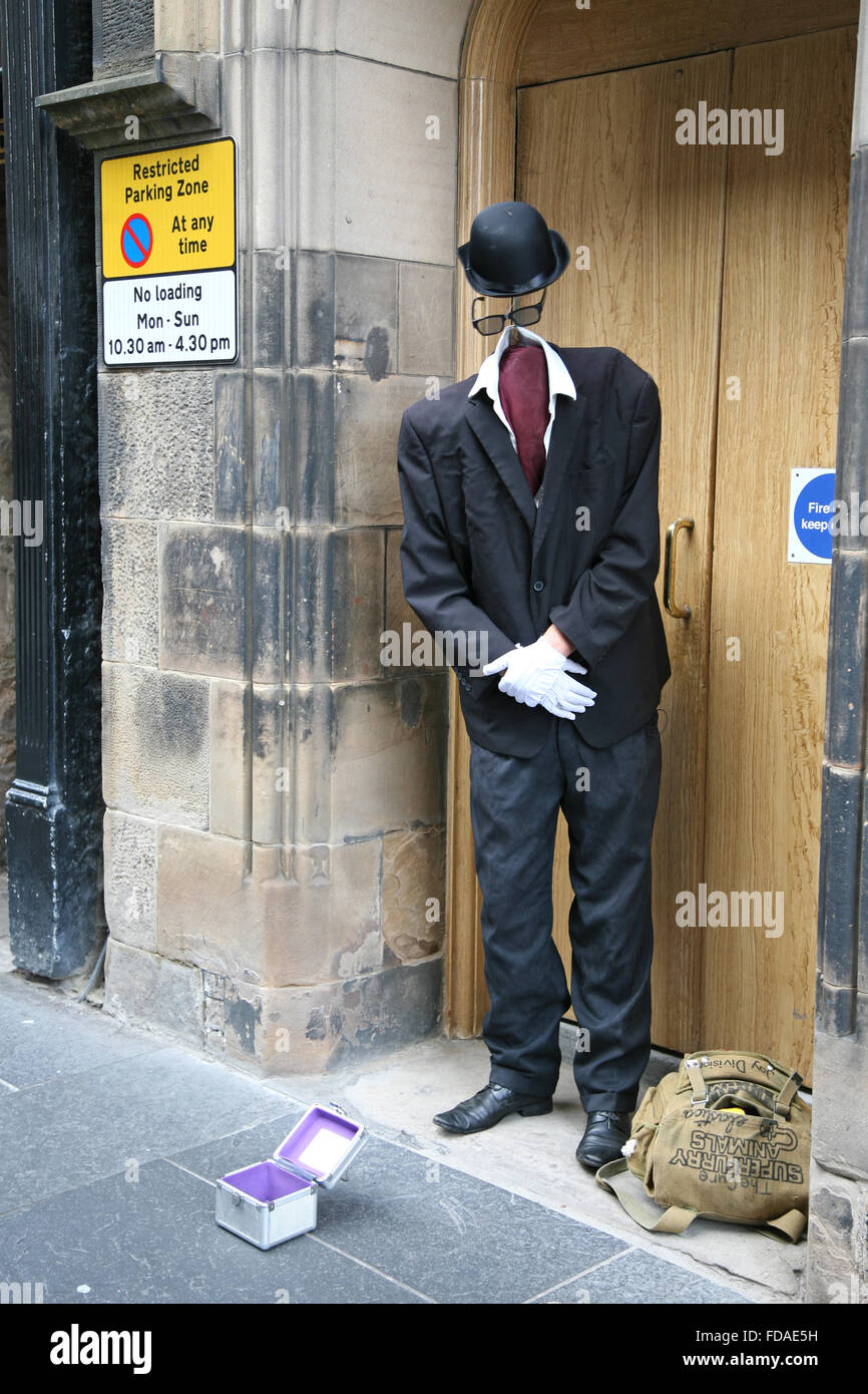Street performer as Invisible Man - Stock Image