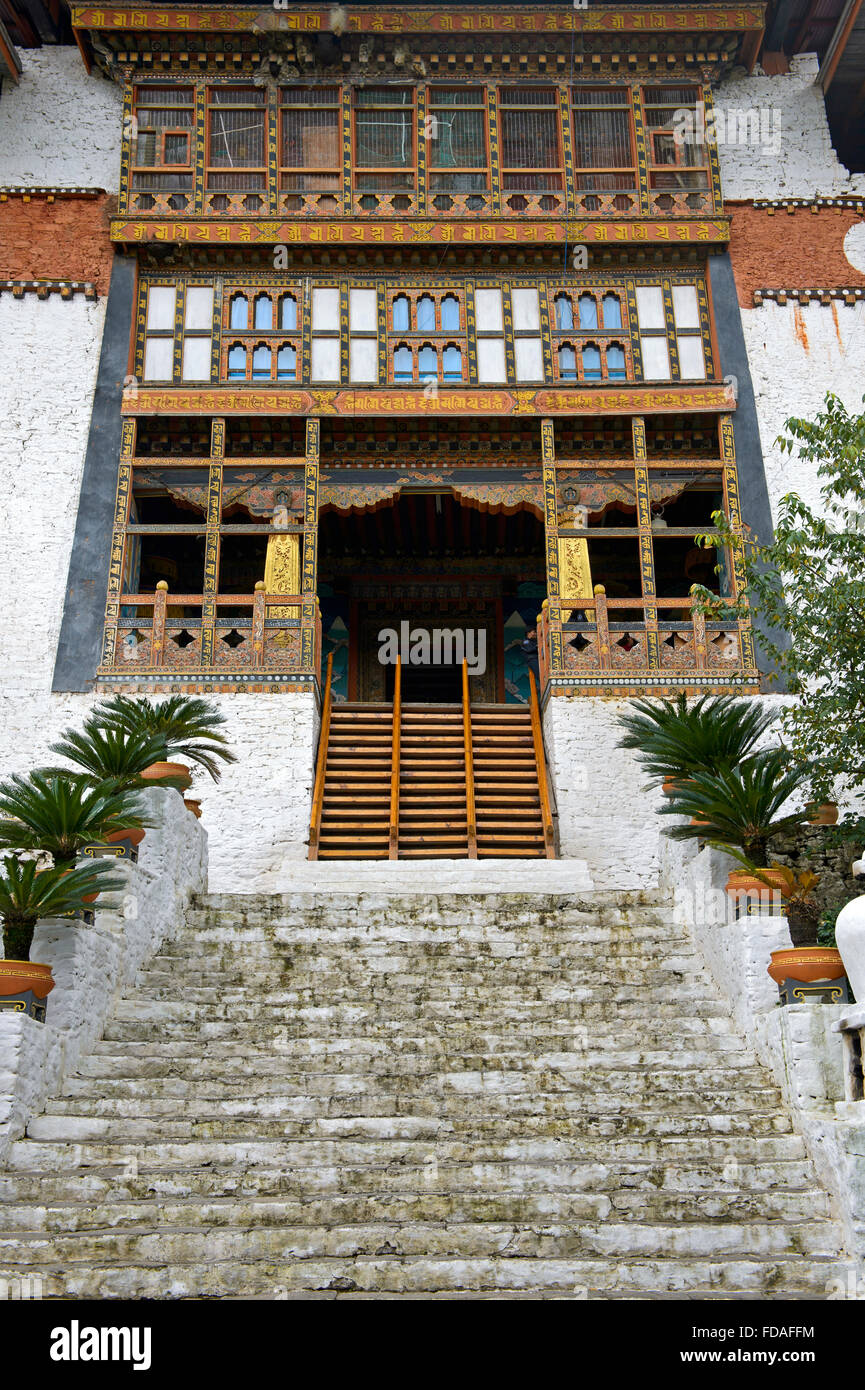 Stairs to the entrance of the monastery fortress Punakha Dzong, Punakha District, Bhutan - Stock Image