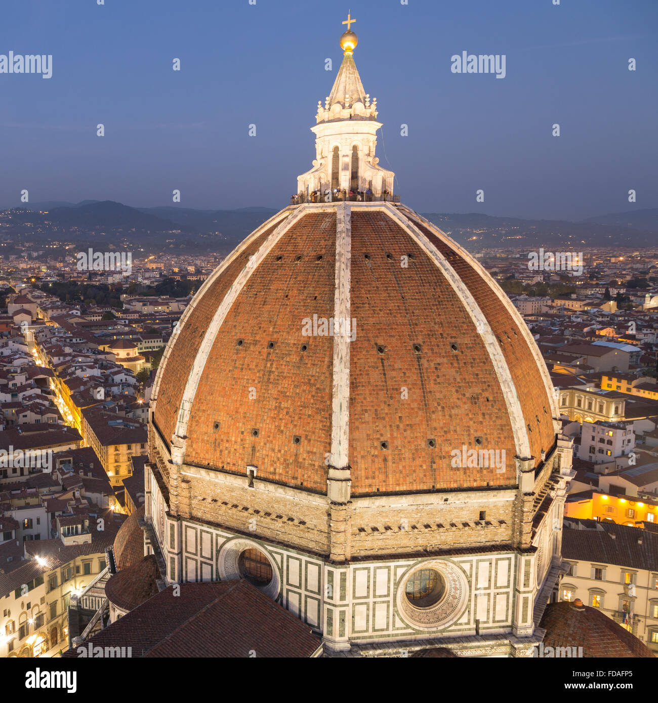 Florence Cathedral, dome with historic centre at dusk, Florence, Tuscany, Italy - Stock Image