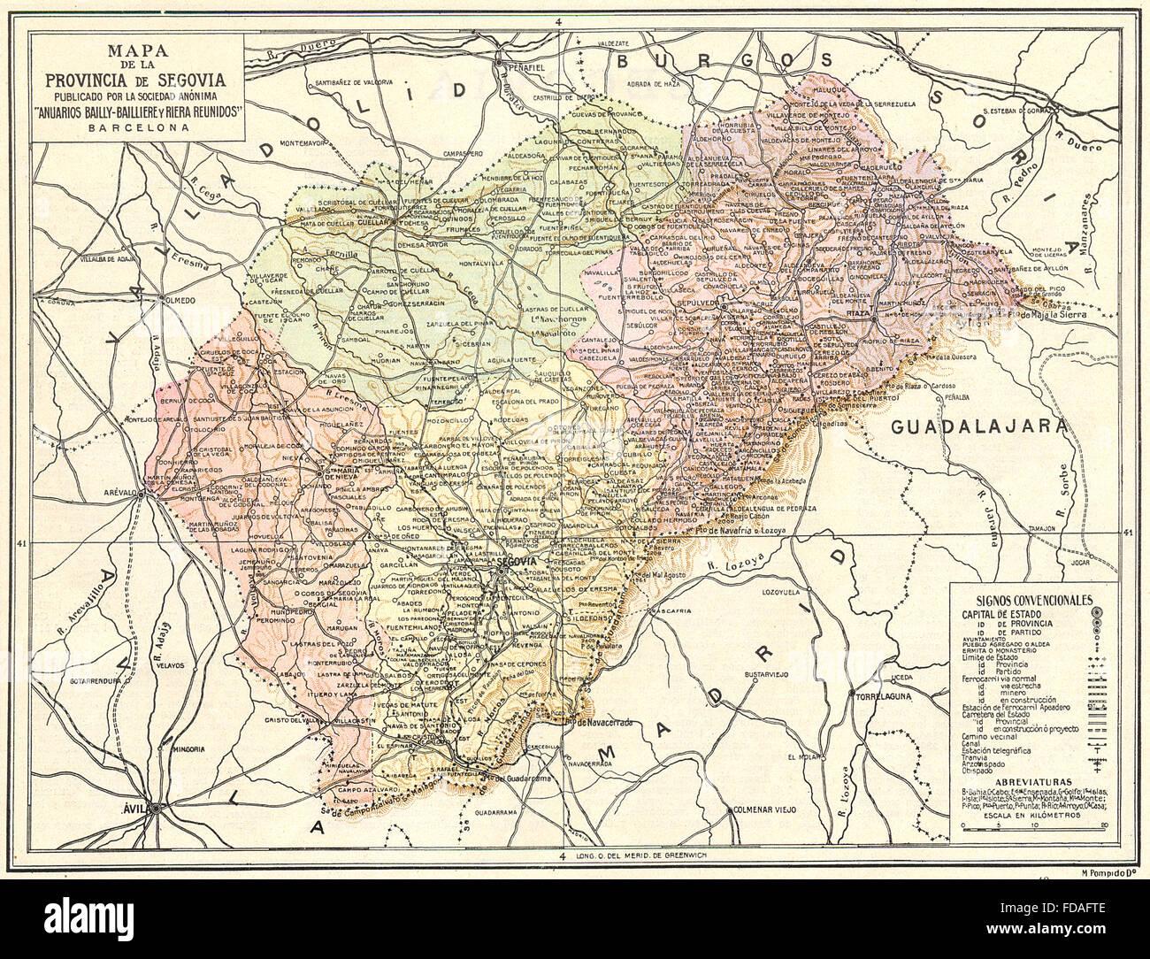 Provincia De Segovia Mapa.Spain Mapa De La Provincia De Segovia 1913 Stock Photo
