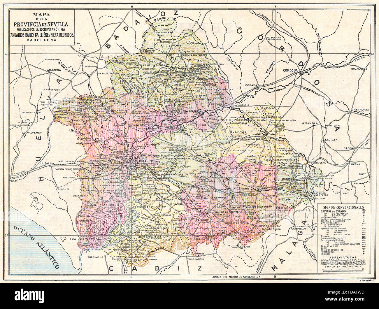 Provincia De Sevilla Mapa.Spain Mapa De La Provincia De Sevilla 1913 Stock Photo