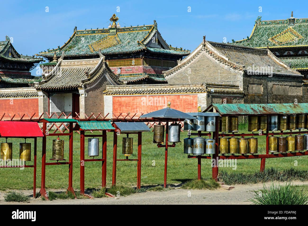 Prayer wheels, three main temples, Erdene Zuu Monastery, Kharkhorin, UNESCO World Heritage Site Orkhon Valley - Stock Image