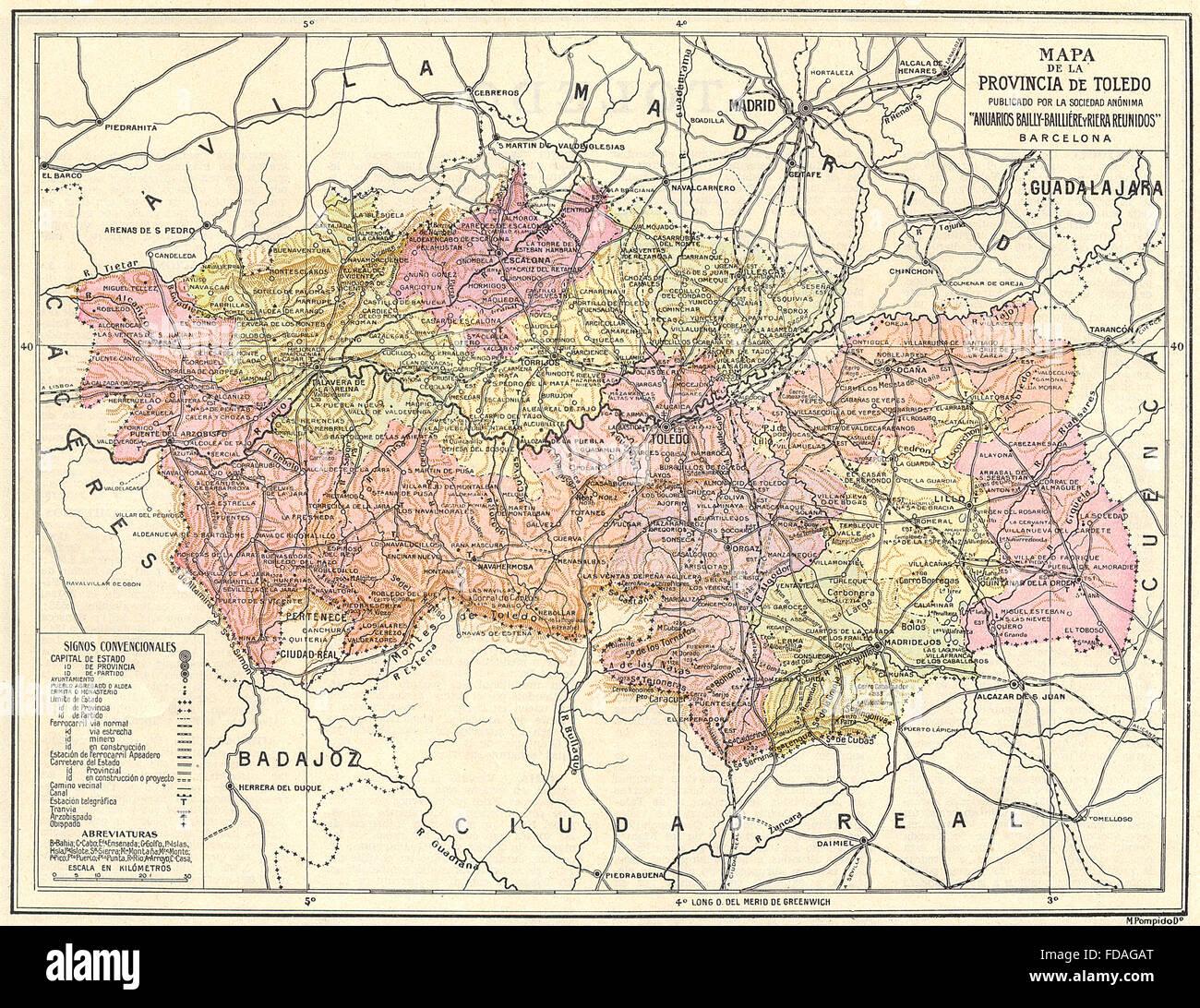 Spain Mapa De La Provincia De Toledo 1913 Stock Photo 94274736