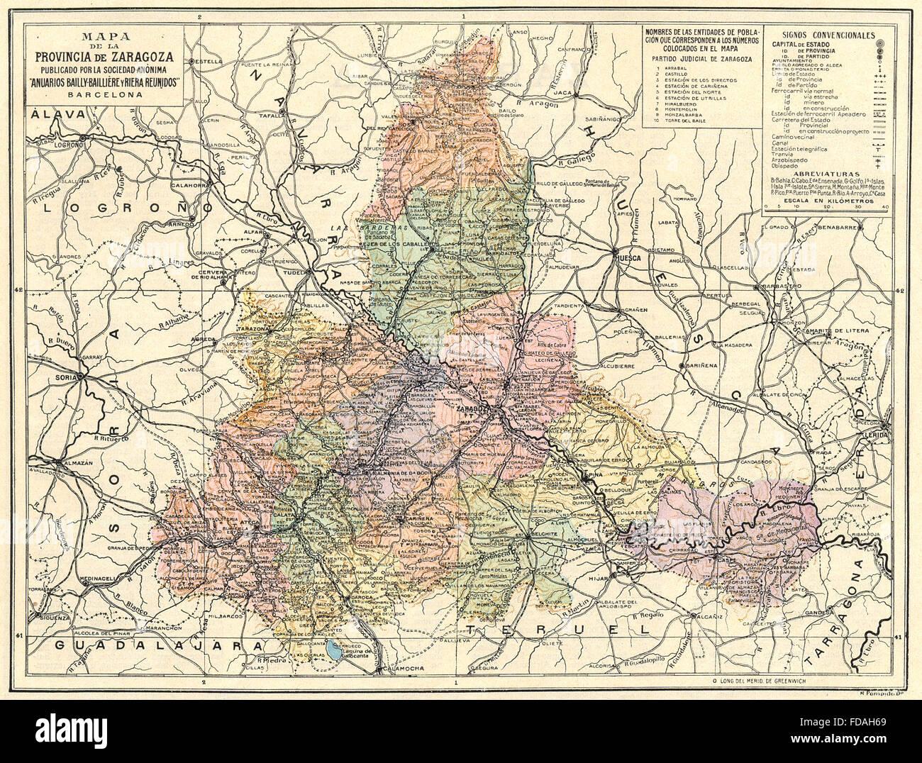 Mapa Provincia De Zaragoza.Spain Mapa De La Provincia De Zaragoza 1913 Stock Photo