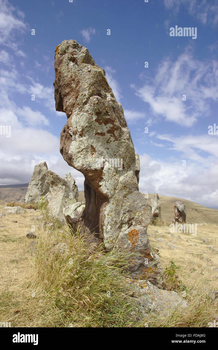 Zorats Karer stone cirlce near Sisian in Armenia - Stock Image