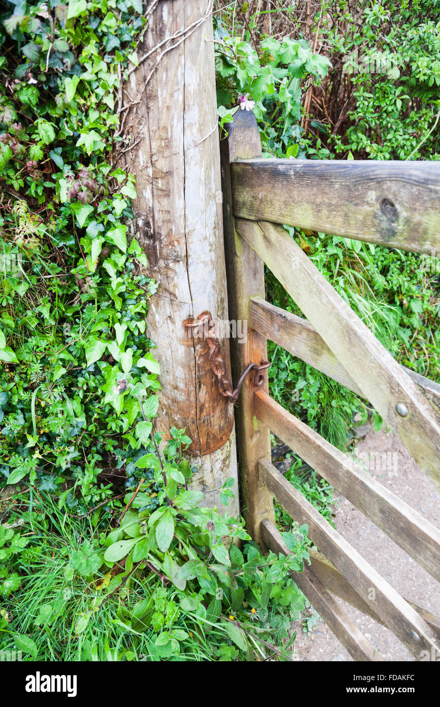 An old rusty chain on a wooden gate and gatepost - Stock Image