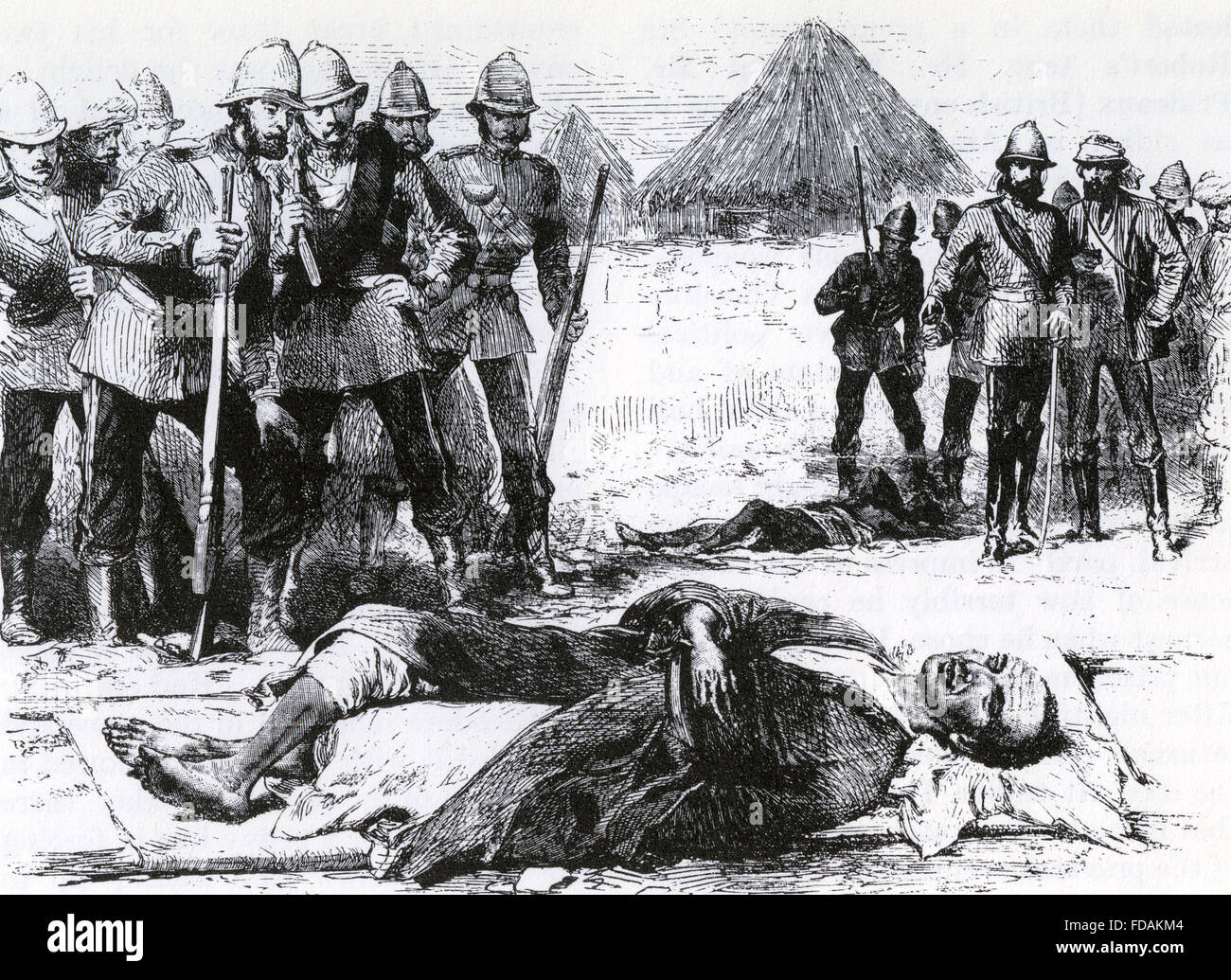 BATTLE OF MAGDALA, Abyssinia, April 1868.  British soldiers viewing the corpse of King Theodore, 13 April 1868 - Stock Image