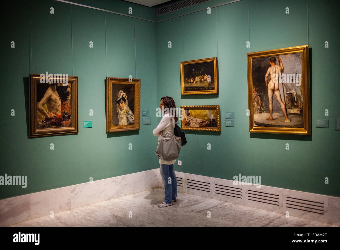 visitor watching a painting.The Collection Joaquin Sorolla.Museum of ...